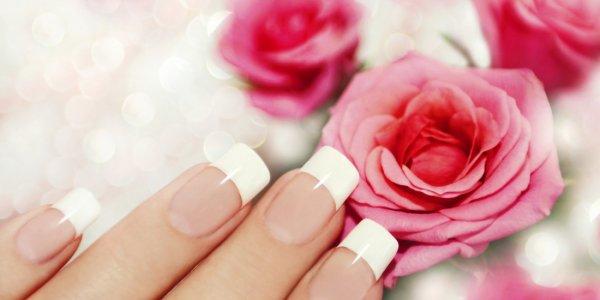 Красивый нежный маникюр на нарощенных ногтях