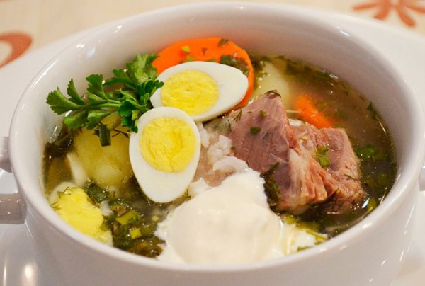 Рецепт щавелевого супа с яйцом и мясом