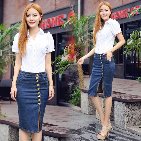 С чем носить джинсовую юбку до колен, Секреты красоты и здоровья женщины