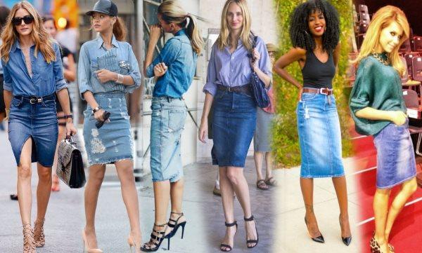 С чем носить джинсовую юбку до колен