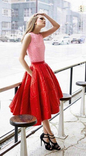 С чем носить красную юбку солнце, Секреты красоты и здоровья женщины