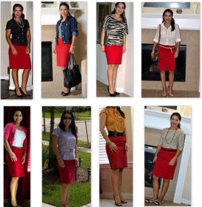 С чем одеть красную юбку-карандаш