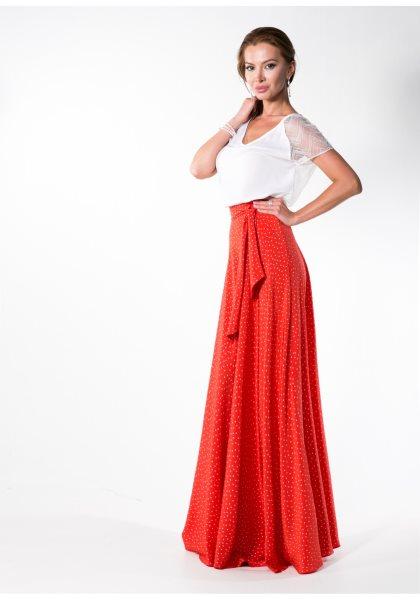 С чем одевать красную длинную юбку