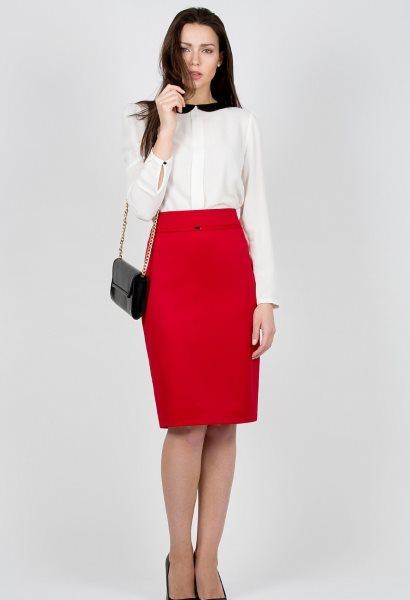 С чем сочетать красную юбку