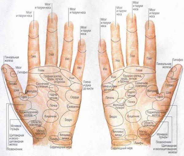 Точечный массаж пальцев рук