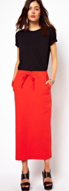 С чем носить длинную юбку карандаш с завышенной талией