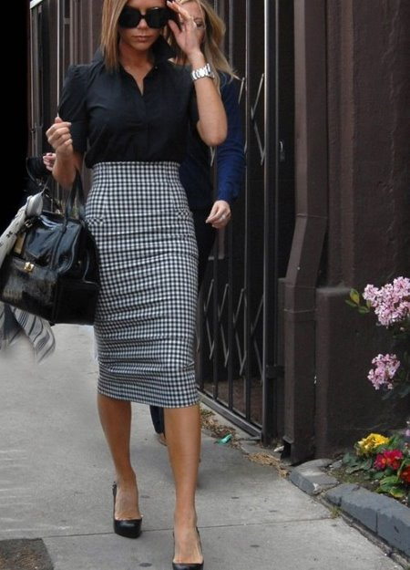 Длинная юбка карандаш с завышенной талией