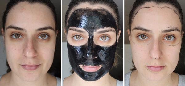 Черная маска для лица: до и после