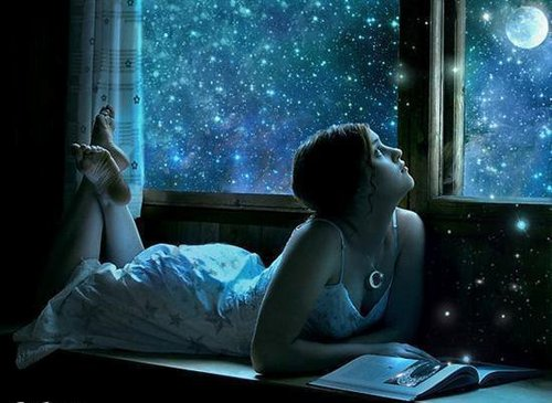 Девушка, ночное небо