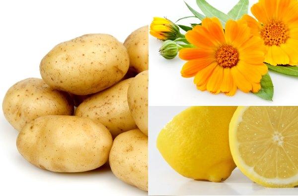 Картофель, календула, лимон