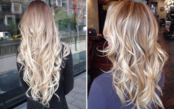 балаяж белые волнистые волосы