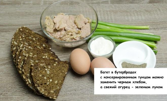 Бутерброды с тунцом консервированным, яйцом и огурцом