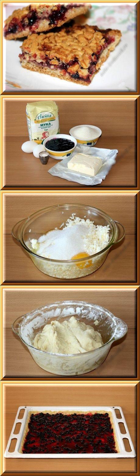Пирог с вареньем тертый, песочный, крошкой сверху в духовке, на маргарине, кефире. Быстрые рецепты