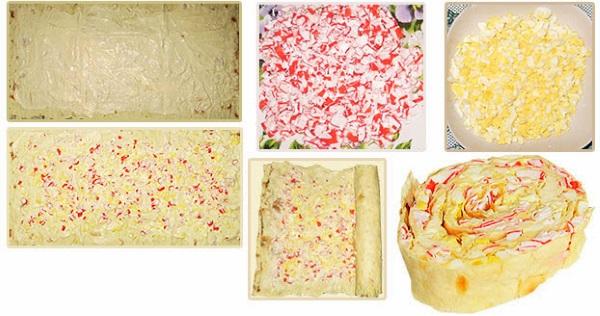 Рулет из лаваша с крабовыми палочками, плавленным сыром, яйцом, огурцами, чесноком, корейской морковкой, творожным сыром, кукурузой. Рецепты
