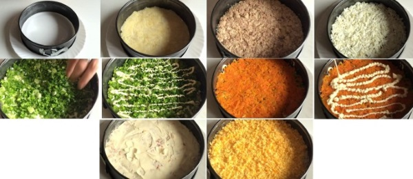 Салат из печени трески. Рецепт классический с яйцом, зеленым луком, рисом, горошком, огурцом