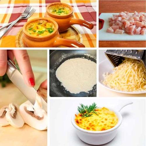 Жульен с грибами и курицей. Рецепт в духовке на противне, в тарталетках, горшочках, со сливками