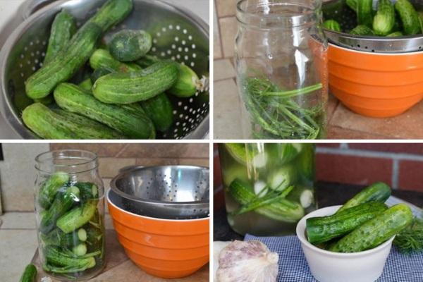 Малосольные огурцы. Рецепт хрустящие быстрого приготовления, в пакете, кастрюле, горячим рассолом, в холодной воде, кусочками