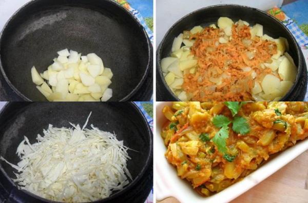 Тушеная капуста с мясом и картошкой. Рецепт в кастрюле, мультиварке, казане, на сковороде, рукаве для запекания