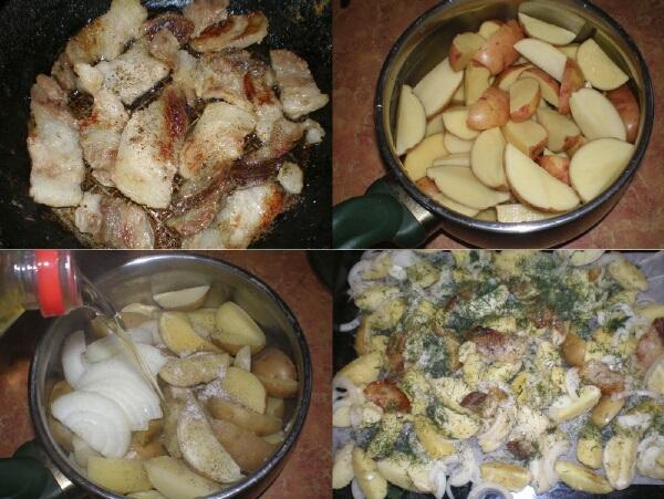 Картофель по-деревенски в духовке. Рецепт с фото в рукаве, фольге, как в Макдональдсе, с чесноком, свининой