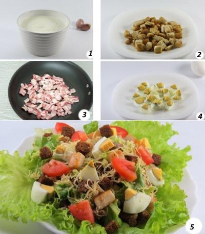 Салат Цезарь. Рецепт с креветками, классический с курицей и сухариками, пекинской капустой, майонезом. Как приготовить