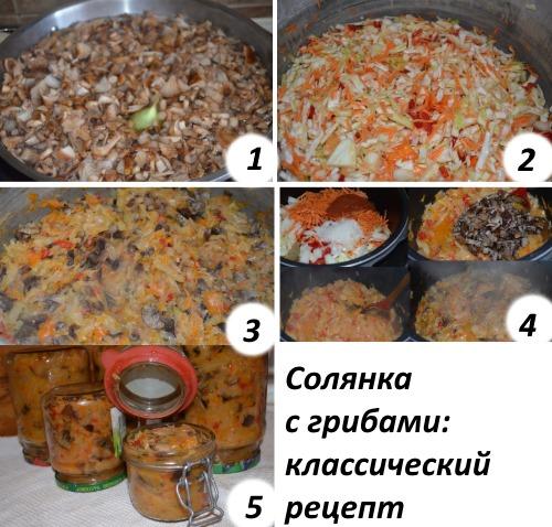 Солянка с грибами на зиму с капустой, помидорами, огурцами. Пошаговый рецепт