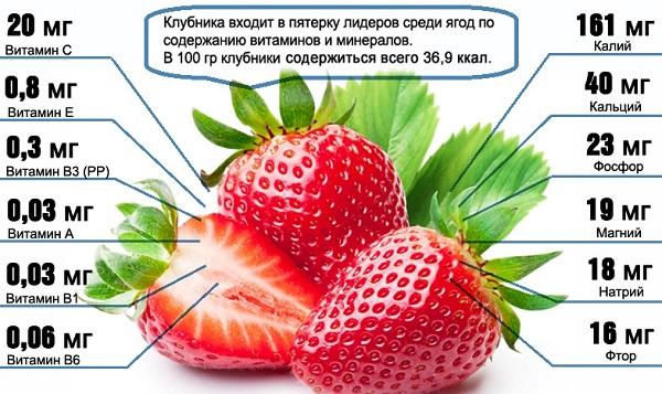 Клубника. Польза и вред для здоровья, сорта, состав витаминов, микроэлементов, БЖУ, свойства ягод